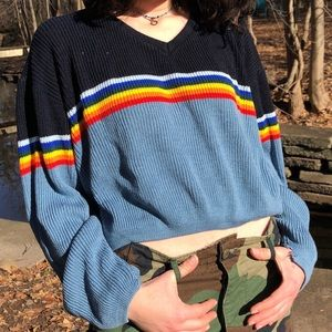 Vintage 🌈 Rainbow Stripe Cropped Ski Sweater